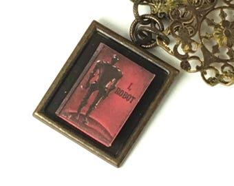 I Robot Hidden Book Necklace Tiny Readable Book Science fiction book Isaac Asimov Author