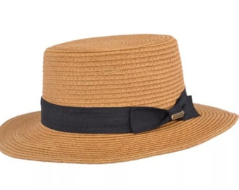 Summer Paper Straw Boater Hat - Camel