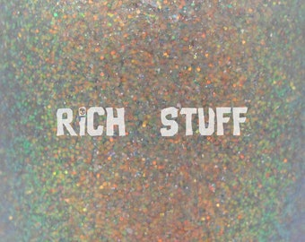 """Rich Stuff chameleon glitter and holo flake nail polish 15 mL (.5 oz) from the """"Never Say Die"""" Collection"""
