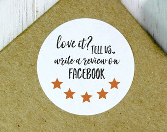Facebook Review Stickers, 5 Star Stickers, Facebook Review Labels, Facebook Shop Stickers, Feedback Stickers, Love It Stickers (11-0001-038)