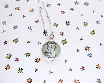 Scientist Cat Necklace, Cute Cat Pendant, Nerdy Accessories, Geek Jewelry, Funny Cats, Cat Lover Gift, Silver Plated, Ball Chain, Glass Tile