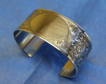 hand engraved sterling cuff bracelet
