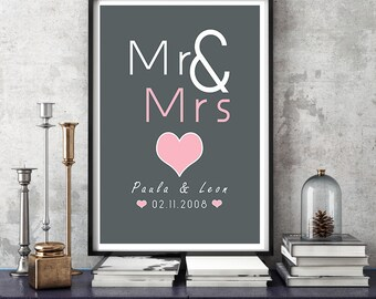 Personalized art print, anniversary wedding day mural ' Mr & Mrs'