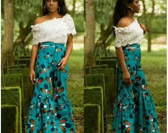 African clothing, african fashion, ankara clothing, ankara pants,african flare pants, ankara pallazo,  ankara flare pants