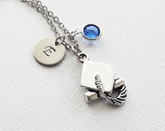 Graduation Necklace, Graduate Gift, Cap Diploma Necklace, Swarovski Birthstone, Silver Initial, Personalized, Monogram, Hand Stamped Letter