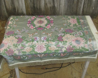 54 inch square Chinese brocade satin tablecloth