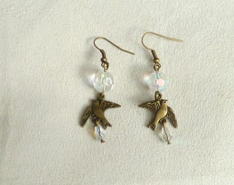 """Earrings bronze faceted beads and """"bird"""""""
