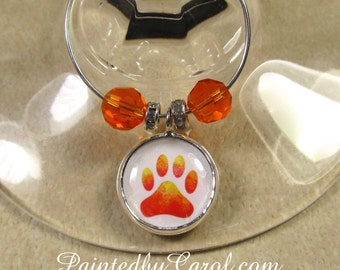 Paw Print Wine Charms, Paw Print Table Decor, Paw Print Home Decor, Paw Print Party Decor, Paw Print Party Gift, Pet Lover Gift, Dog Lover