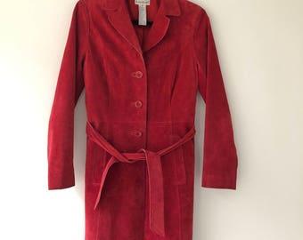 Vintage Red Long Suede Coat
