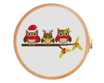 Owls Christmas cross stitch pattern - brown lime red - birds berries cones owlet scarf beanie hat