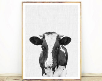 Nursery Cow Print, Black and White Animal Poster, Farm Animal Decor, Kids Room Poster, Large Printable Poster, Instant Download, #598