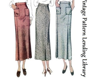 1930s Ladies Skirt With Patch Pockets- Reproduction Sewing Pattern #T8354