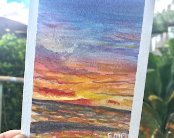 Original Watercolor Painting Postcard