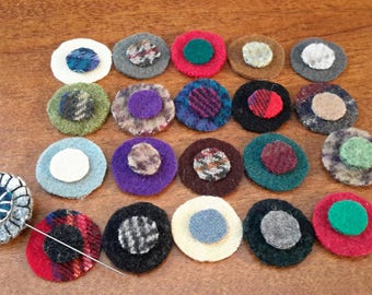 Wool Kit -- Wool Pins -- Pattern, Sample Pintopper, and Instructions -- Ten Wool Penny Pintoppers -- Wool Appliqué Kit -- Wool Pennies