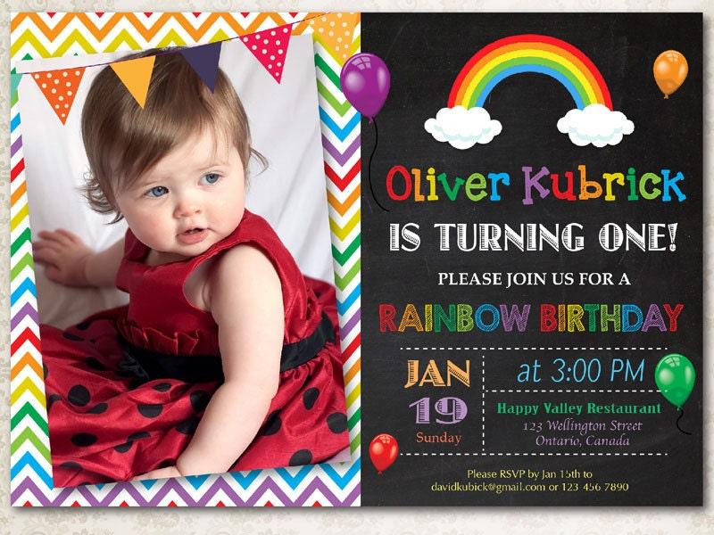Rainbow Birthday Invitation. Chevron. Chalkboard. Boy or Girl