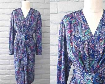 Jahrgang 1980 Französisch Kleid lila Pariser PAISLEY langen Ärmeln Wrap Stil - M
