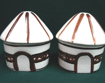 Ceramic Huts Salt and Pepper Shakers