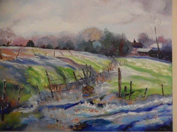 Snow Painting, Barn Painting, The First Thaw, Spring Farm Scene