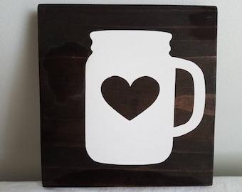 """Sweet Tea Mason Jar Heart Wood Sign 7"""" x 7"""""""