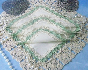 Sage Green Handkerchief, Hanky, Hankie, Hand Crochet, Lace, Crochet Lace, Monogrammed, Personalized, Ladies, Bridesmaids, Bridal party gift