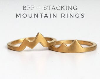 Best Friend Ring, Mountain Ring, Wanderlust Gold Ring, Dainty Ring, Sister Ring, Minimalist Ring, Nature Ring, engagement jewelry set