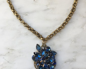 Handmade Vintage Necklace, Bridal Vintage Statement Necklace,  Repurposed Vintage Necklace, Weiss Jewelry, Vintage Rhinestone Necklace