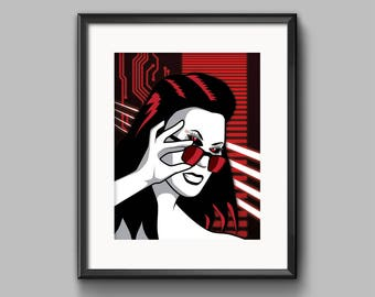 Mechanical Heart Art Print - synthwave, vaporwave, outrun, cyberpunk, 80s, retro, portrait, neon, girl, patrick nagel