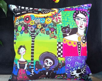 Fast shipping/Frida-day of the dead pattern colorful print pillow cover/Housewarming gift/Rainbow colors pillow designs