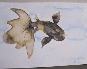 Goldfish #5 - India Ink Watercolor Painting - Original