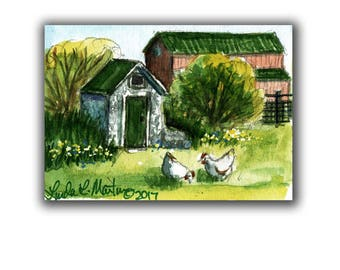 Root Cellar Hens Farm Baby Nursery llmartin Original ACEO Father Grandma Miniature Watercolor Chickens Free Shipping USA Child Children