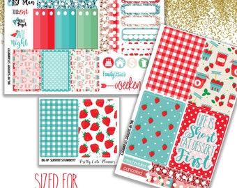 Strawberry BIG Happy Planner Planner Stickers - Weekly Planner Sticker Set - Functional sticker - Summer planner sticker - Summer strawberry