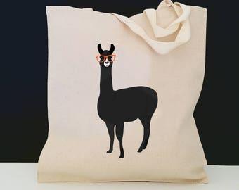 Personalized Llama Tote Bag (FREE SHIPPING), 100% Cotton Canvas Llama Tote Bag, Llama Tote Bag, Llama Totes, Llama, Llama Gift, Llama Tote