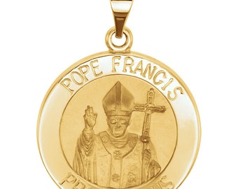 14kt Yellow Gold Hollow Round Pope Francis Medal
