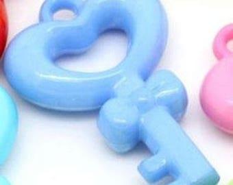1 blue 48x31mm acrylic key charm pendants