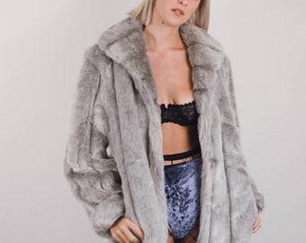 Vintage Faux Fur Jacket    Vintage Floral Faux Fur Coat    90s Faux Fur Coat