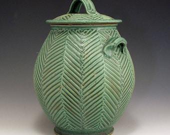 Carved Herringbone Green Jar SHIPPING INCLUDED