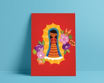 Virgen de Guadalupe illustrated Print, Virgen de Guadalupe illustration, Virgin Mary art made by Andrea Tobar