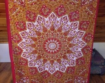 Beautiful red and orange bohemian mandala with elephants tapestry