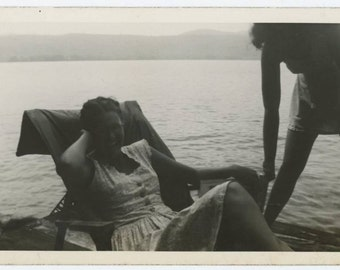 Vintage Snapshot Photo: By the Water, 1940s (612526)