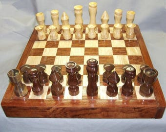 A hand turned Chess set with board and storage, Item 133167