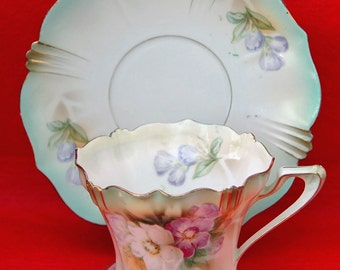 Reduced Antique R S PRUSSIA Tea CUP n Saucer Decorated w/ Pansy's on Shaded Green Background w/ Red Mark Fine Porcelain Exc Condition!