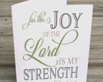 The Joy of the Lord Is My Strength - Inspirational Note Card Set  - Religious Stationery - Christian  Note Cards