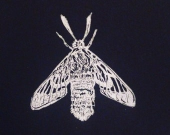 Moth Linocut in white