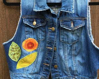 Jeans patched vest S-M