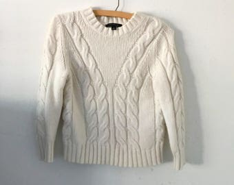 Vintage white cream cable knit sweater