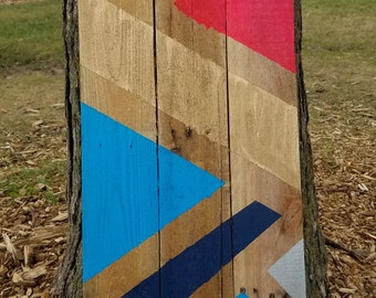 Geometric Neon Reclaimed Wood Sign Wall Hanging