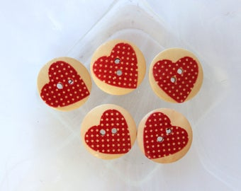 wood button round heart with red polka dots