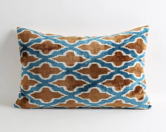 ikat velvet pillow cover, Silk velvet ikat pillow, scandinavian design home decor, 16x24 modern decorative pillow