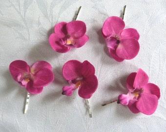 Orchid hair fascinators mini real touch phalaenopsis orchid hair clips bridal hair clip tropical fascinator