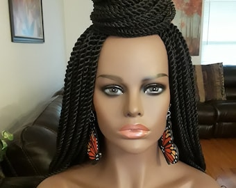 Braided Wig, Long Twists, off black, Color 1b, 24 in